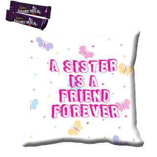 meSleep Sister Is Friend Forever Rakhi Cushion Cover (16x16) With Chocolates