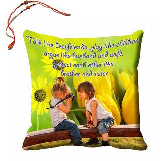 meSleep Brother  Sister Rakhi Cushion Cover (16x16) With Beautiful Rakhis