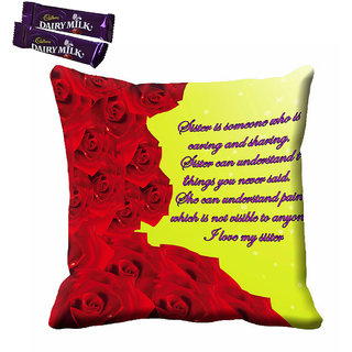 meSleep Red Rose Rakhi Cushion (With Filling - 16x16 Inches) With Chocolates