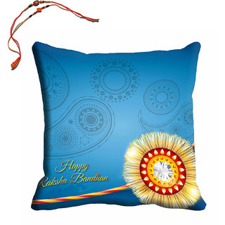 meSleep Blue Happy Rakhsha Bandhan Cushion (With Filling - 16x16 Inches) With Beautiful Rakhis