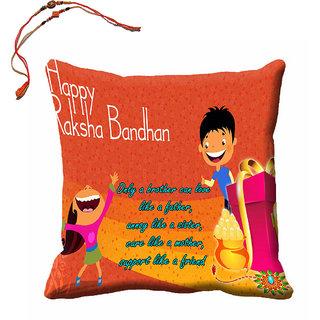 meSleep Happy Raksha Bandhan Cushion (With Filling - 16x16 Inches) With Beautiful Rakhis