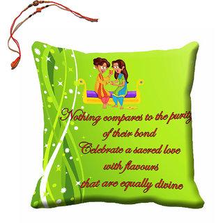 meSleep Happy Raksha Bandhan Cushion Cover (16x16) With Beautiful Rakhis