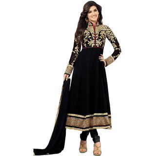 Zhot Fashion Black Georgette Embroidered Salwar Suit Dress Material (Unstitched)