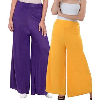 SNP Purple  Yellow Long Palazzo, Pants  trousers Pack of 2
