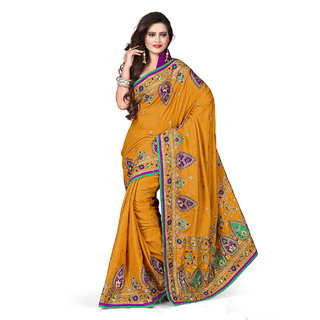 Xclusive Chhabra Georgette Yellow Saree