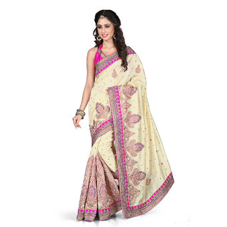 Xclusive Chhabra Georgette Cream Saree