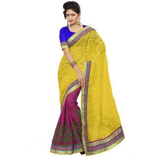 Xclusive Chhabra Georgette Yellow Saree