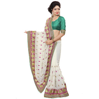 Xclusive Chhabra Georgette Cream Saree