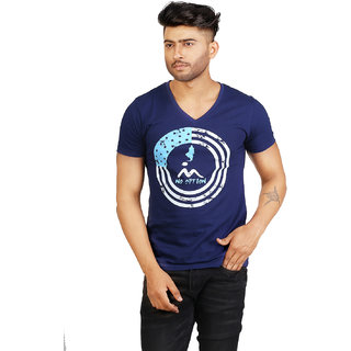 Masculino Latino Printed Mens V-neck Dark Blue T-Shirt