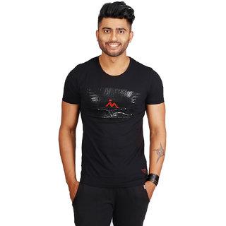 Masculino Latino Printed Mens Round Neck Black T-Shirt