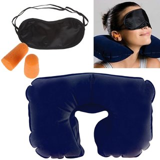 3 In 1 Travel Neck PIllow, Eye Shade Mask  Ear Plugs Suitable For Train Bus Flight Car