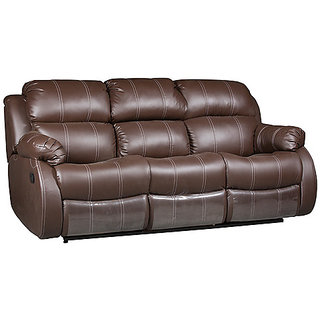 Three Seater Sofa Recliner with Collapsible Tray in Brown Colour