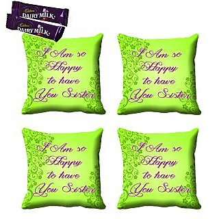 meSleep Green Sister Rakhi Cushion Cover (16x16) - Set of 4, With Chocolates