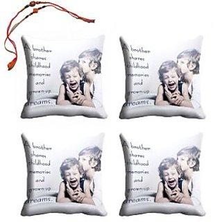 meSleep Bro  Sis Rakhi Cushion Cover (16x16) - Set of 4, With Beautiful Rakhis