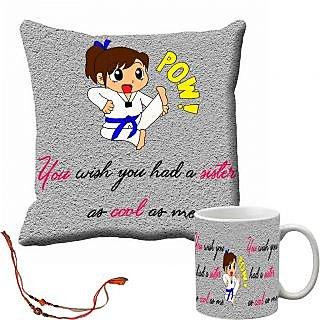 meSleep Grey Pow Rakhi Sister Cushion Cover and Mug Combo With Beautiful Rakhis