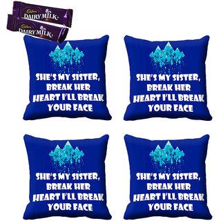 meSleep Blue My Sister Rakhi Cushion Cover (16x16) - Set of 4, With Chocolates