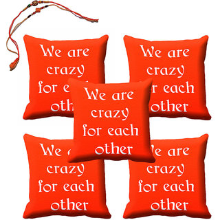 meSleep Orange Rakhi Cushion Cover (16x16) - Set of 5, With Beautiful Rakhis