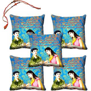meSleep Sister  Brother Rakhi Cushion Cover (16x16) - Set of 5, With Beautiful Rakhis