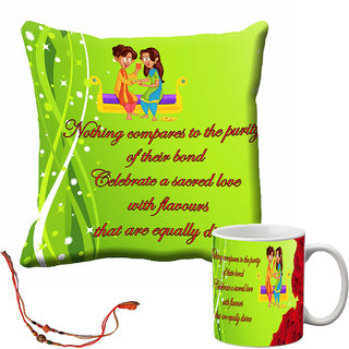 meSleep Happy Raksha Bandhan Cushion Cover and Mug Combo With Beautiful Rakhis