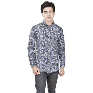 25th R 100 Cotton Printed Slim Fit Grey-Blue Casual Partywear Shirt for Men