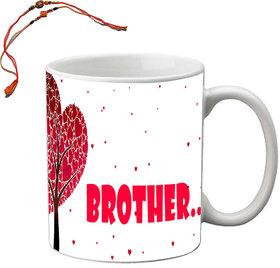 meSleep White Brother Rakhi Mug With Beautiful Rakhis