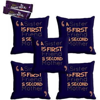 meSleep Black Best Sister Rakhi Cushion Cover (16x16) - Set of 5, With Chocolates