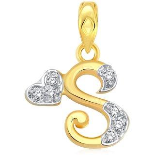 s letter cz gold plated pendant cj1033pg