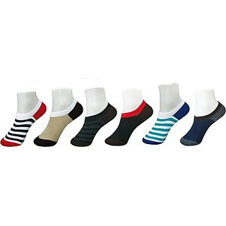 DDH Mens Graphic Print No Show Socks(Pack of 3)-D24