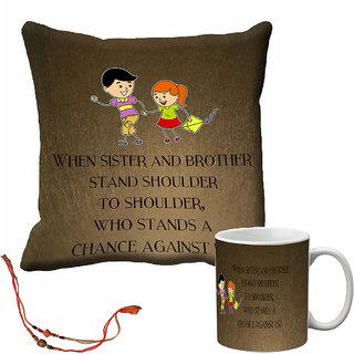 meSleep Brown Rakhi Bro  Sis Cushion (With Filling) and Mug Combo With Beautiful Rakhis