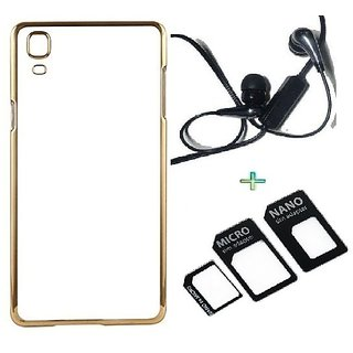 Back Cover For OPPO NEO 7 (Transparent  GOLDEN) With Raag Earphone  Nano Sim Adapter