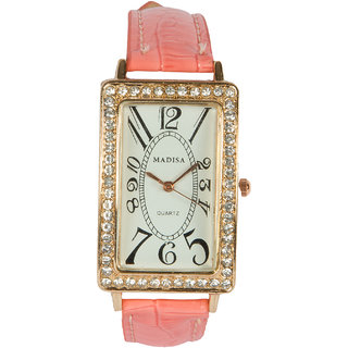 Rectangle Dial Pink Pu Strap Quartz Watch For Women By StolN
