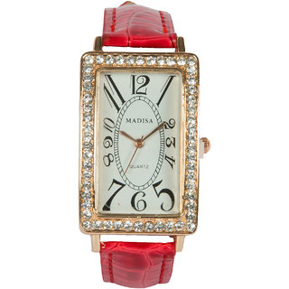 Rectangle Dial Red Pu Strap Quartz Watch For Women By StolN