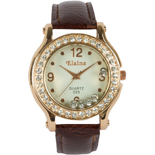 Round Dial Brown Pu Strap Quartz Watch For Women By StolN