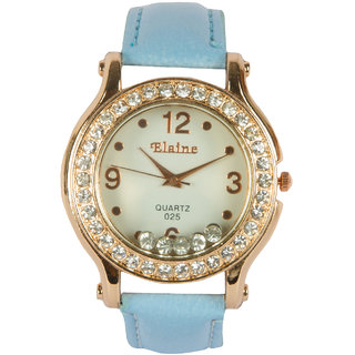 Round Dial Blue Pu Strap Quartz Watch For Women By StolN