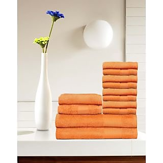Tomatillo 12 Pieces 100 Cotton Towel Set - Orange