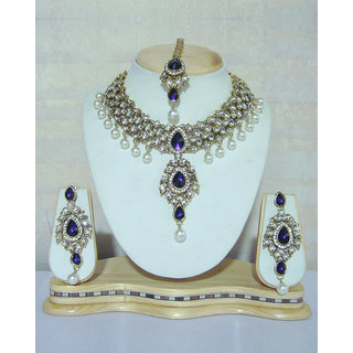 Floral Kundan Necklace Set With Purple Stones