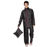 Black Raincoat With Lower And Cap (3 In 1)