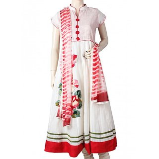 White and Red Anarkali Dress Set