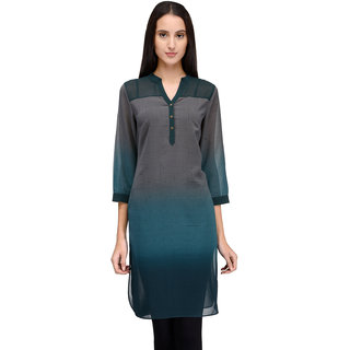 Tunic Nation Women Poly Georgette Dark Green Tunic Shirt With Metal Buttons