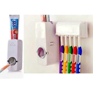 Automatic Toothpaste Dispenser And Tooth Brush Holder Set - White