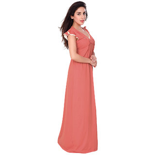 423d8117be Buy Honeydew Orange Cotton Self Design Nighty Online   ₹640 from ...