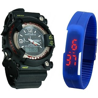 S2S LED-Slim Digital Watch and Mtg Sport Watch - For Boys, Men