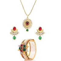 Rich looking Kundan studded pendant and set with a pair of matching kada by GoldNera