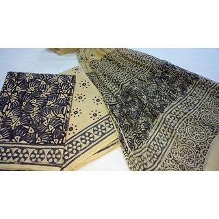 Ebunty Hand Block Print Cotton Material With Chiffon Duppata
