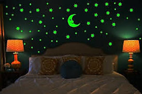 Radium Stars Wall Sticker With Moon - Multicolor Magic Stars For Kids