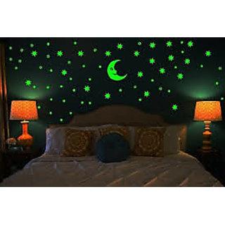 Radium Stars wall sticker with Moon - Multicolor Magic Stars for kids