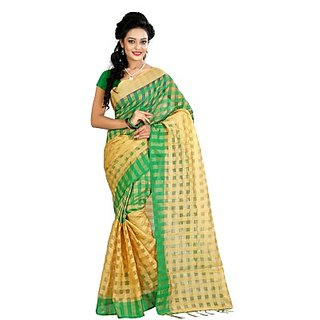 Self Design Checkered Fashion Cotton Saree