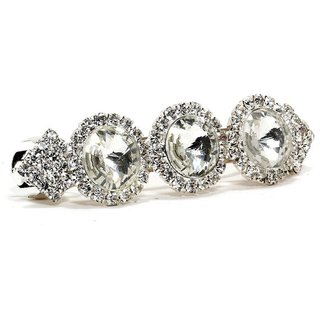 Bindhani Wedding Bridal Hair Clip Accessories For Women Silver-Plated, White