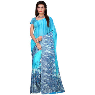 Ambaji Turquoise Georgette Printed Saree With Blouse
