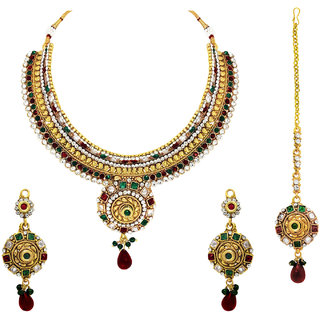 Om Jewells Traditional Ethnic Gold Plated Multicolour Kundan Choker Necklace Set NL1000505